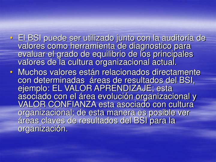 El BSI puede ser utilizado junto con la auditoria de valores como herramienta de diagnostico para evaluar el grado de equilibrio de los principales valores de la cultura organizacional actual.