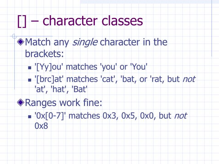 [] – character classes