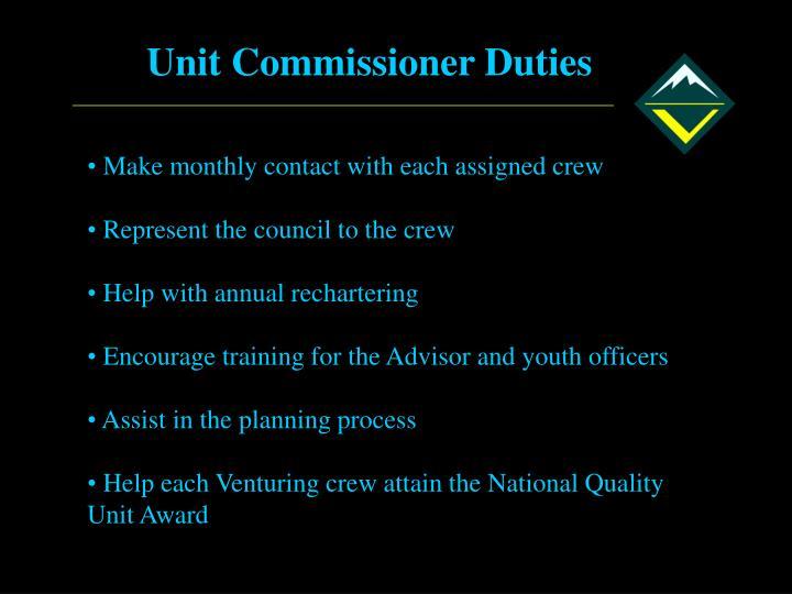 Unit Commissioner Duties