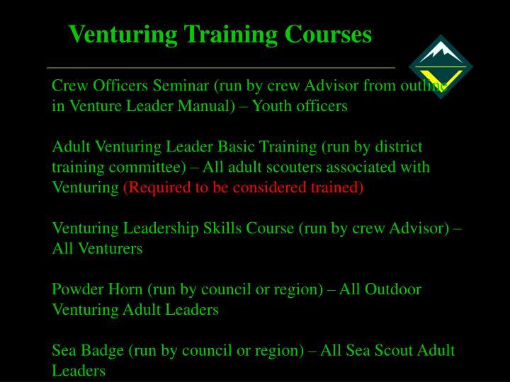 Venturing Training Courses