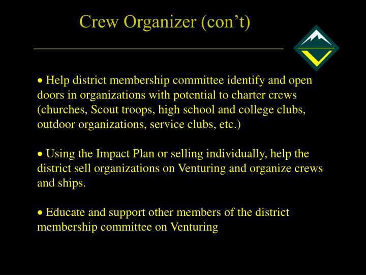 Crew Organizer (con't)