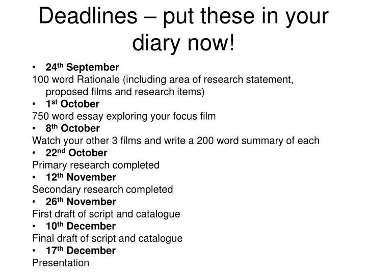 Deadlines – put these in your diary now!