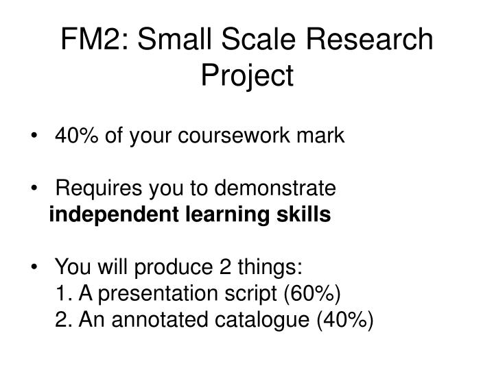 fm2 small scale research project