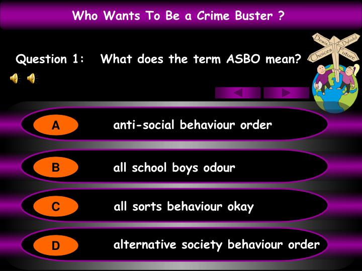 Question 1:   What does the term ASBO mean?