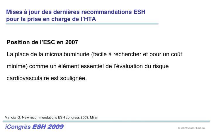 Mises à jour des dernières recommandations ESH
