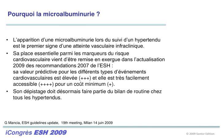 Pourquoi la microalbuminurie ?
