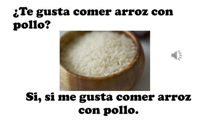 ¿Te gusta comer arroz con pollo?