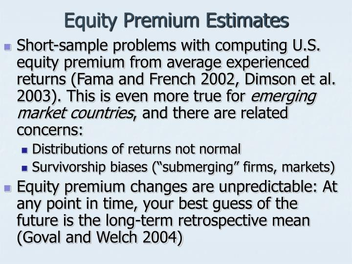 Equity Premium Estimates