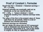 proof of constant l formulae
