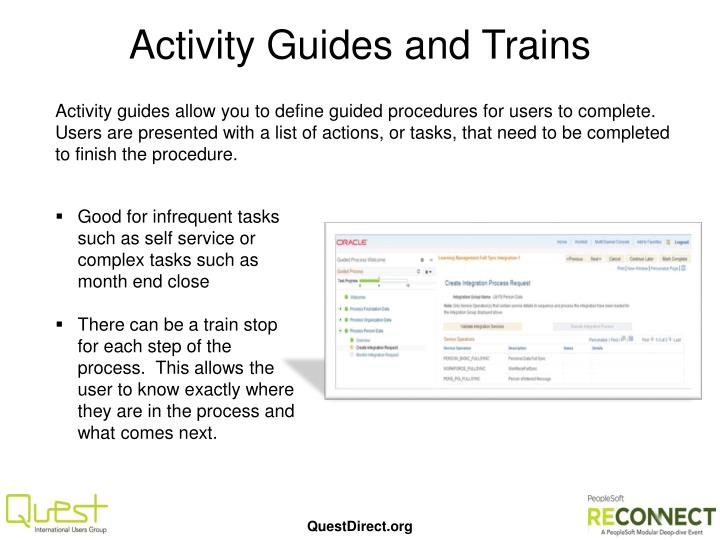 Activity Guides and Trains