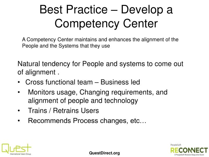 Best Practice – Develop a Competency Center