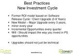 best practices new investment cycle