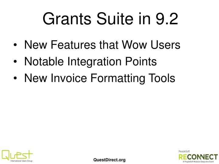 Grants Suite in 9.2