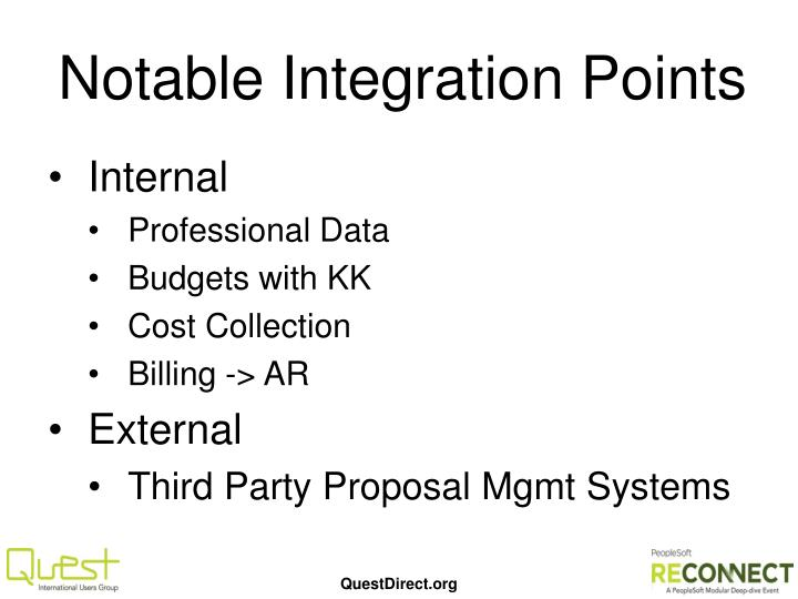 Notable Integration Points