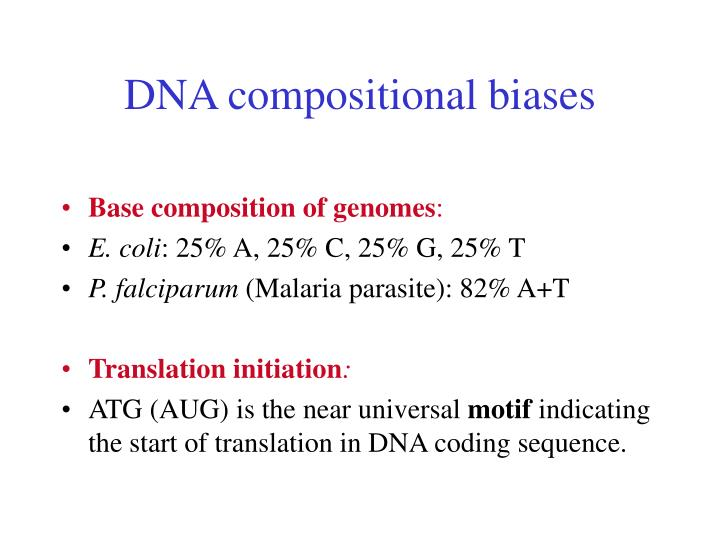DNA compositional biases