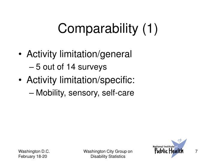 Comparability (1)