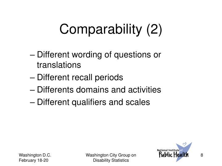 Comparability (2)