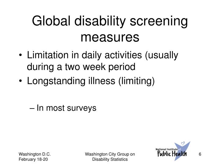 Global disability screening measures