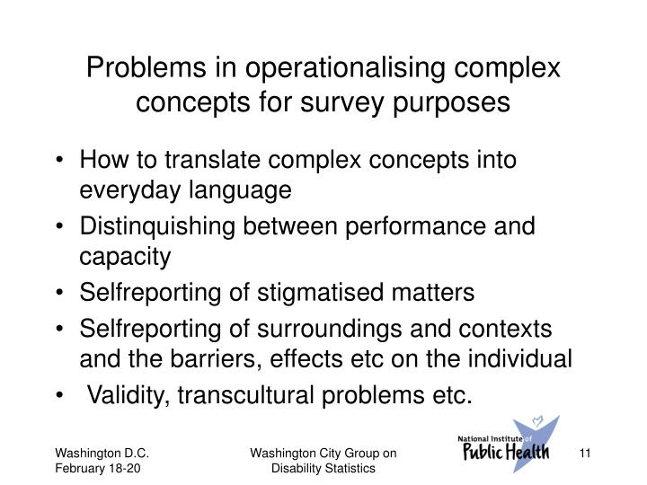 Problems in operationalising complex concepts for survey purposes