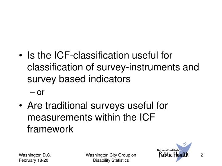 Is the ICF-classification useful for classification of survey-instruments and survey based indicators