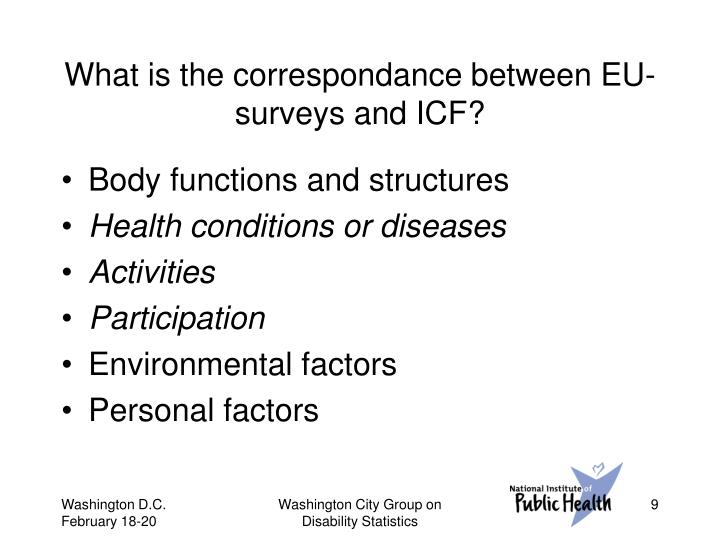 What is the correspondance between EU-surveys and ICF?