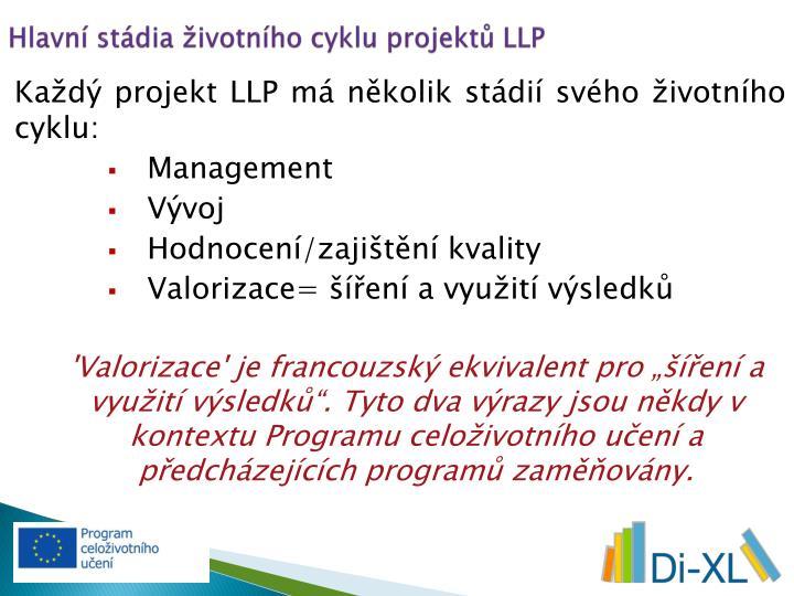 Hlavní stádia životního cyklu projektů LLP