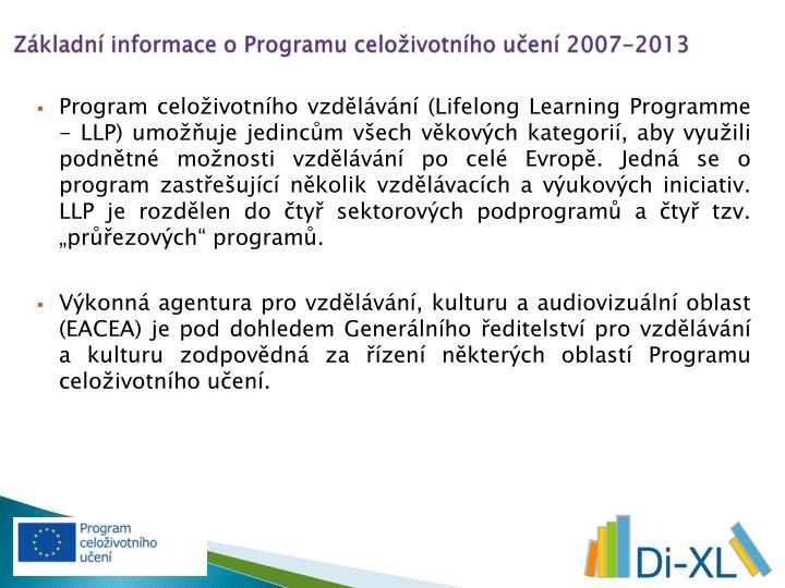 Základní informace o Programu celoživotního učení