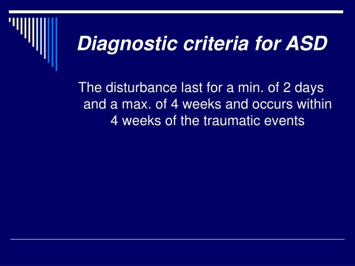 Diagnostic criteria for ASD