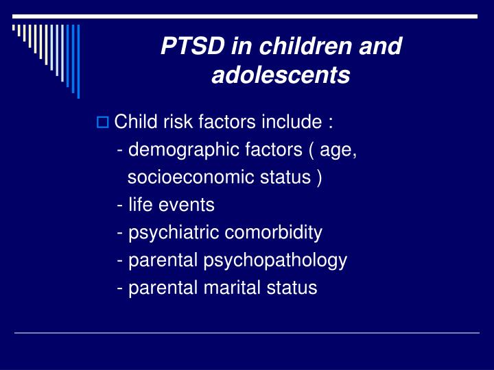 PTSD in children and adolescents
