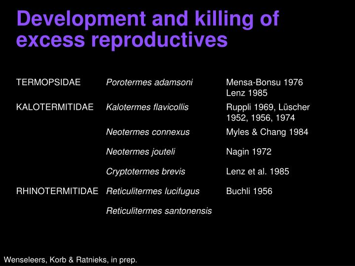 Development and killing of excess reproductives