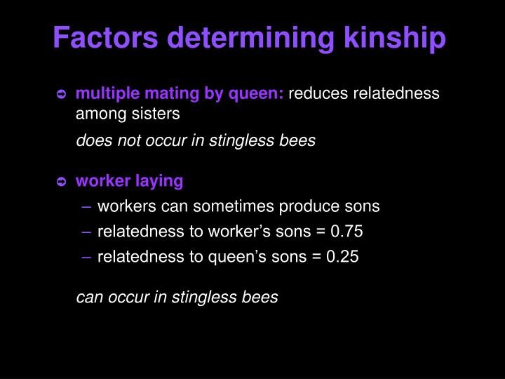 Factors determining kinship