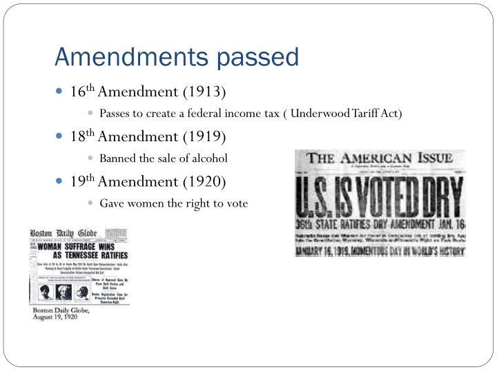 Amendments passed