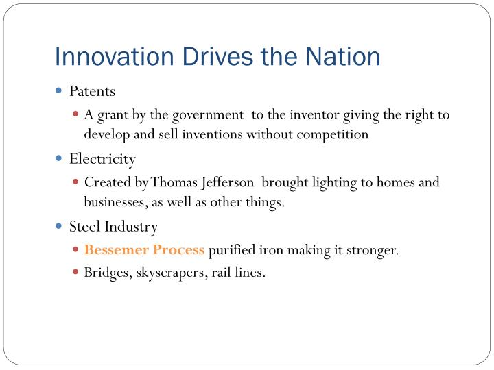 Innovation Drives the Nation