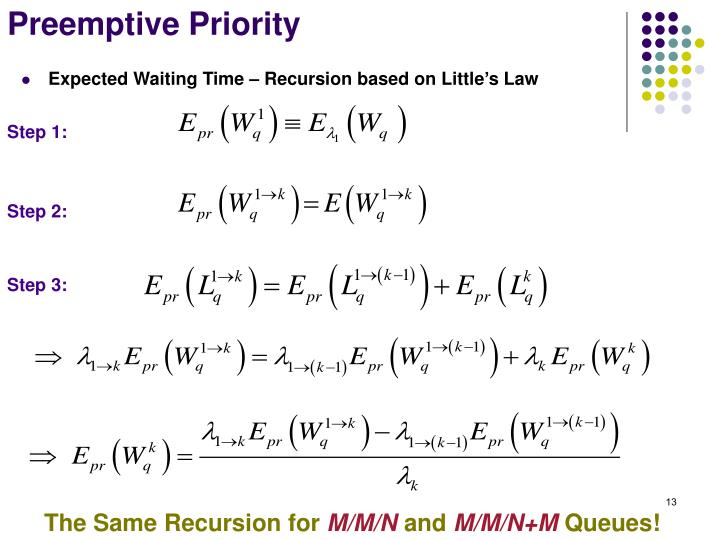 Expected Waiting Time – Recursion based on Little's Law