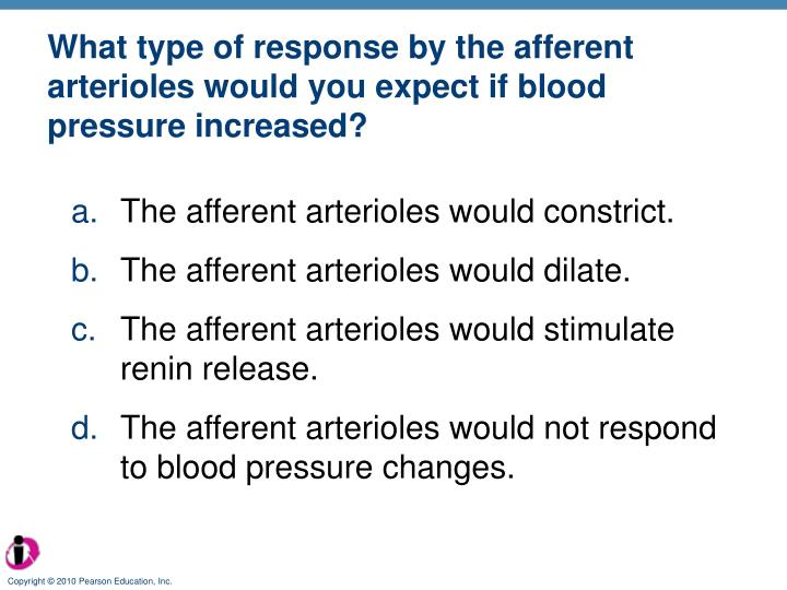 What type of response by the afferent arterioles would you expect if blood pressure increased?