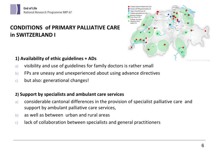 CONDITIONS  of PRIMARY PALLIATIVE CARE