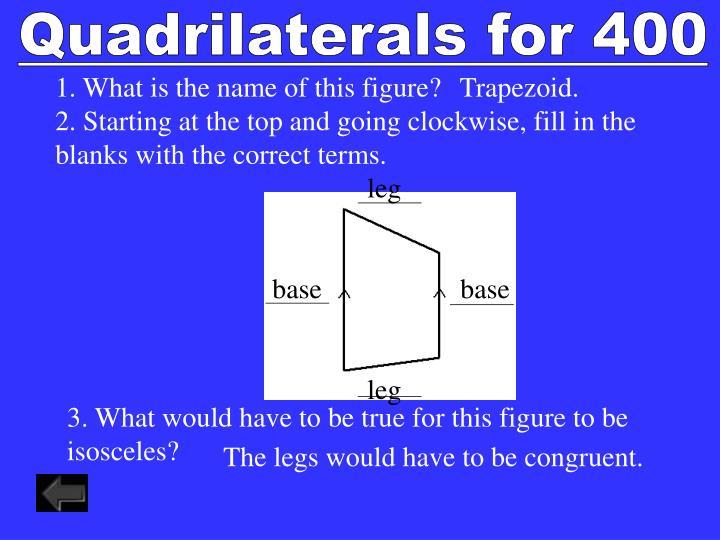 Quadrilaterals for 400