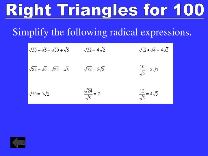 Right Triangles for 100