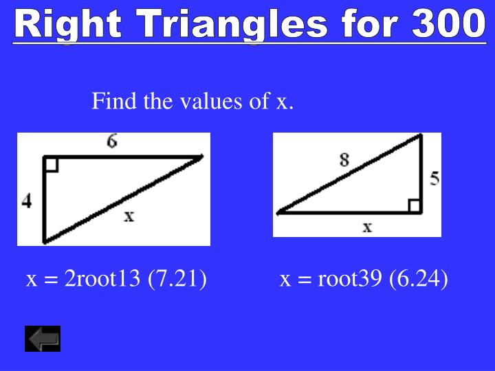 Right Triangles for 300
