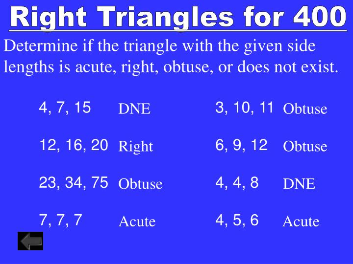 Right Triangles for 400