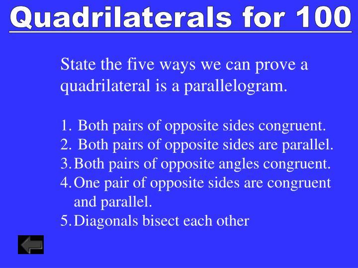 Quadrilaterals for 100