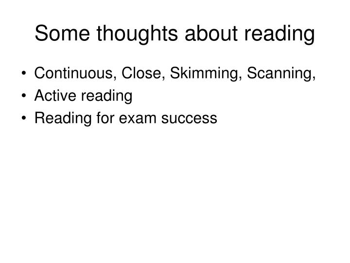 Some thoughts about reading