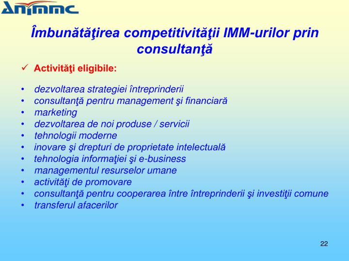 Îmbunătăţirea competitivităţii IMM-urilor prin consultanţă