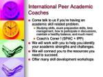 international peer academic coaches