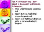 q2 a key reason why i don t speak in discussion and lectures is because