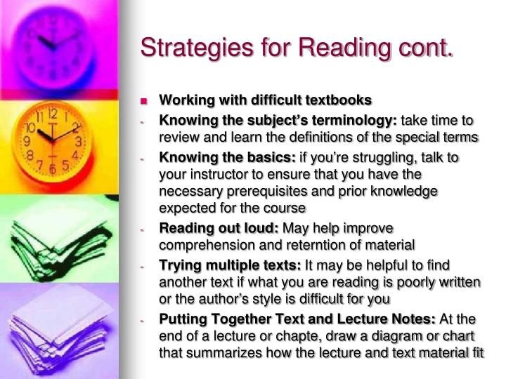 Strategies for Reading cont.