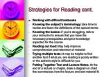 strategies for reading cont