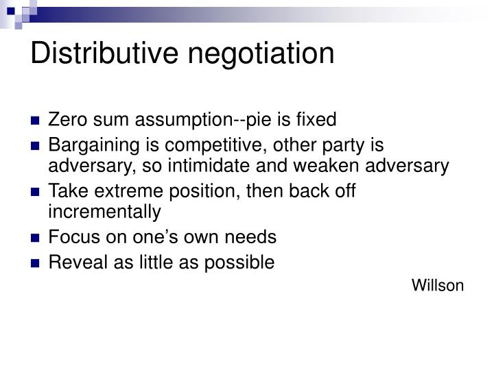 Distributive negotiation