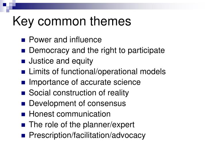 Key common themes