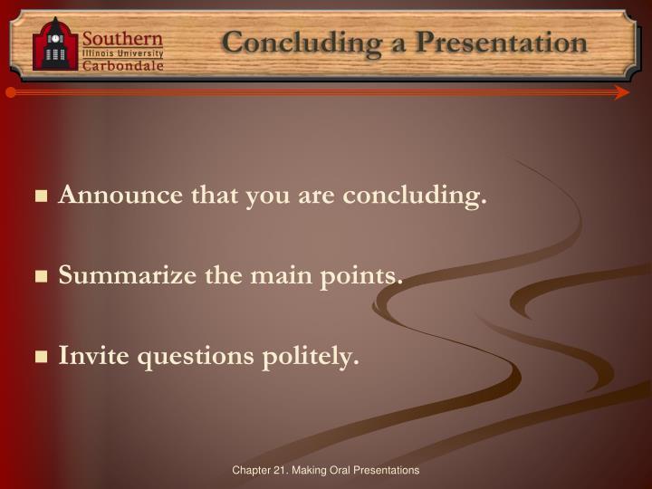 Concluding a Presentation